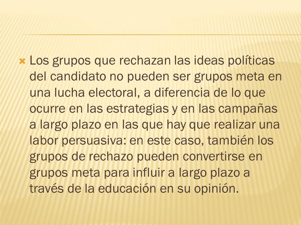 Los grupos que rechazan las ideas políticas del candidato no pueden ser grupos meta en una lucha electoral, a diferencia de lo que ocurre en las estra