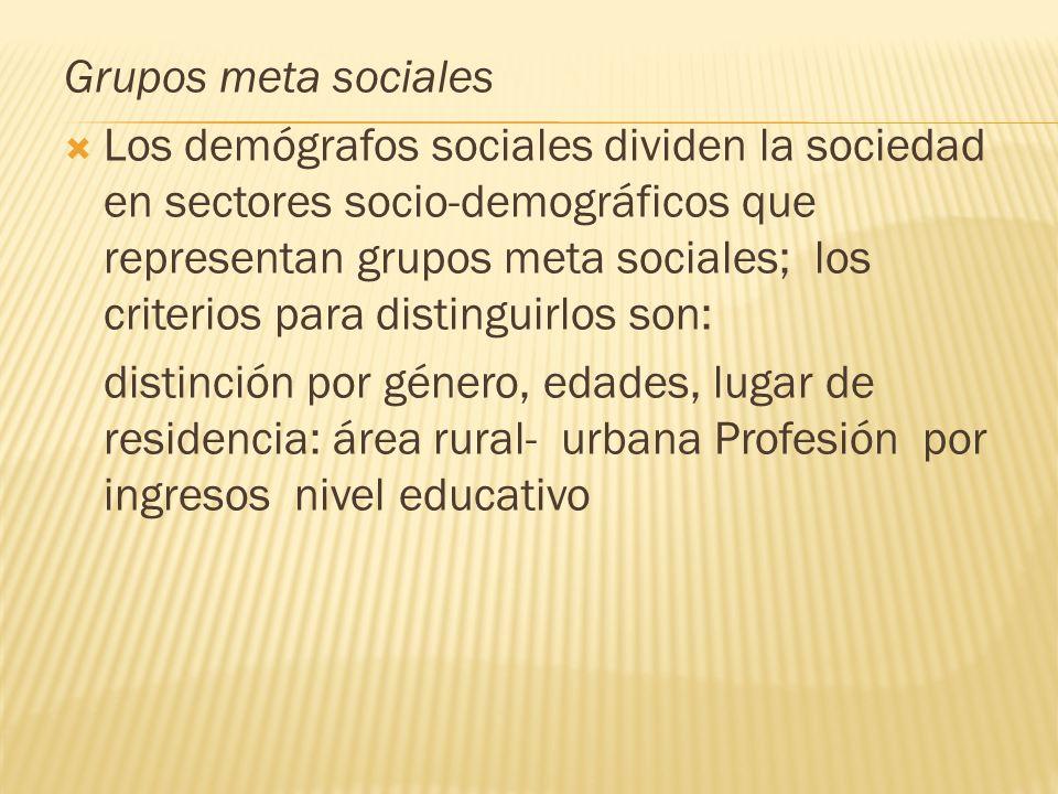 Grupos meta sociales Los demógrafos sociales dividen la sociedad en sectores socio-demográficos que representan grupos meta sociales; los criterios pa