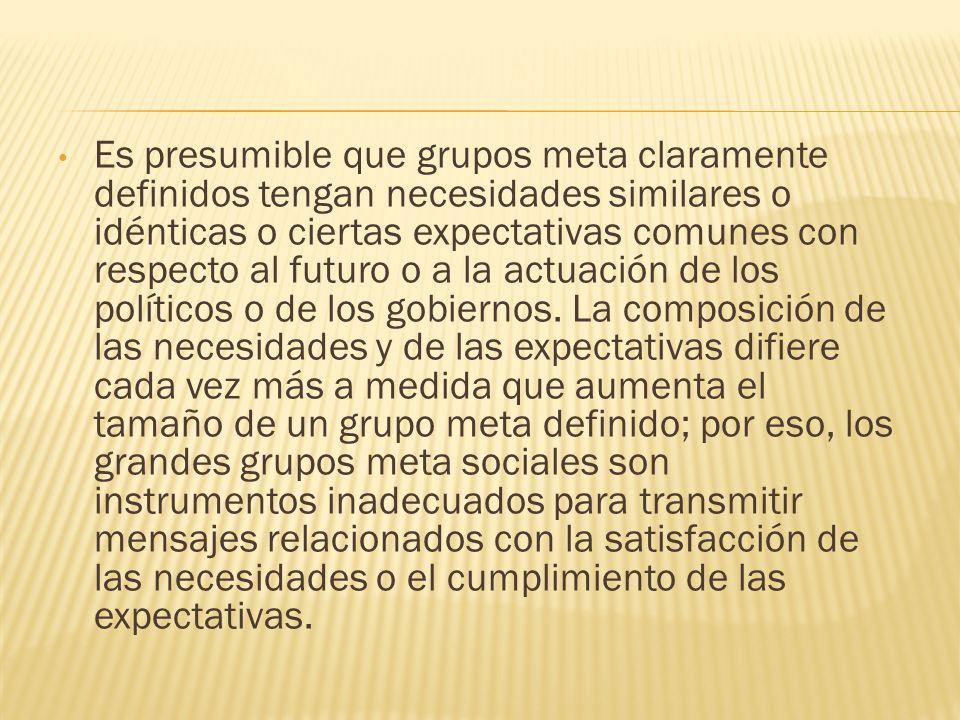 Es presumible que grupos meta claramente definidos tengan necesidades similares o idénticas o ciertas expectativas comunes con respecto al futuro o a
