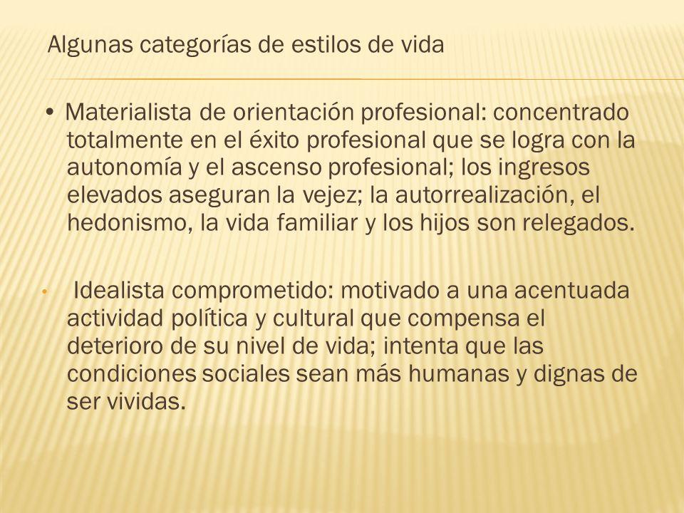Algunas categorías de estilos de vida Materialista de orientación profesional: concentrado totalmente en el éxito profesional que se logra con la auto
