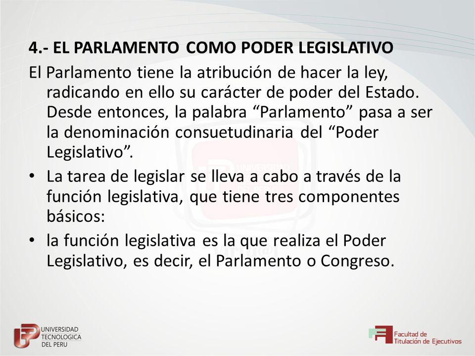 4.- EL PARLAMENTO COMO PODER LEGISLATIVO El Parlamento tiene la atribución de hacer la ley, radicando en ello su carácter de poder del Estado. Desde e