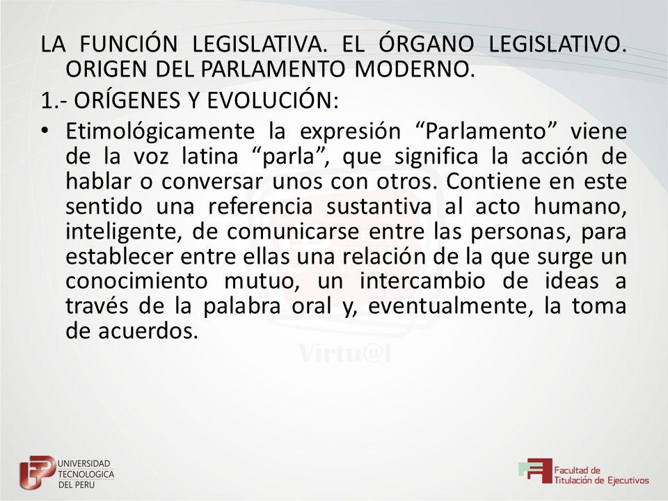 LA FUNCIÓN LEGISLATIVA. EL ÓRGANO LEGISLATIVO. ORIGEN DEL PARLAMENTO MODERNO. 1.- ORÍGENES Y EVOLUCIÓN: Etimológicamente la expresión Parlamento viene