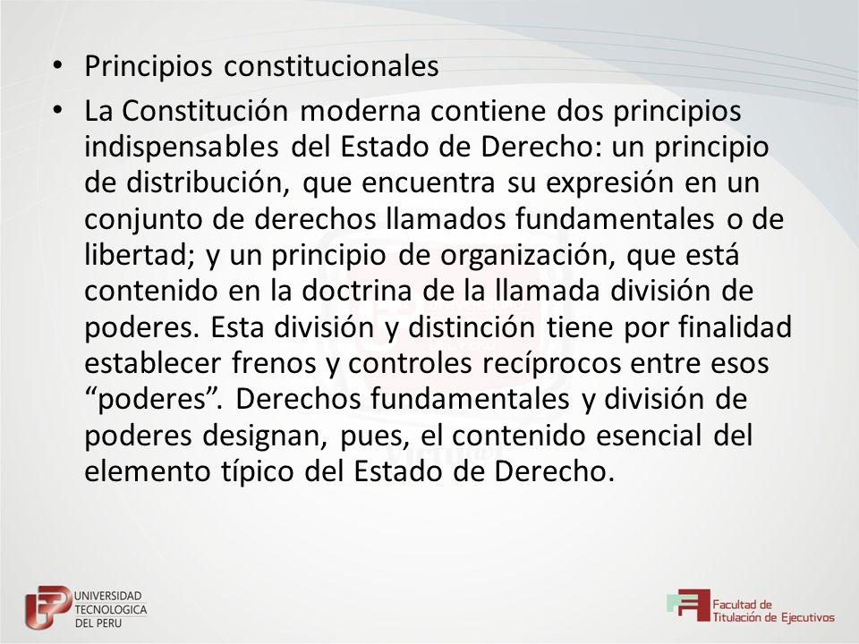 Principios constitucionales La Constitución moderna contiene dos principios indispensables del Estado de Derecho: un principio de distribución, que en