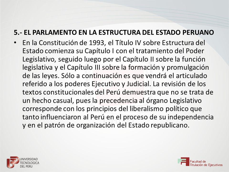 5.- EL PARLAMENTO EN LA ESTRUCTURA DEL ESTADO PERUANO En la Constitución de 1993, el Título IV sobre Estructura del Estado comienza su Capítulo I con