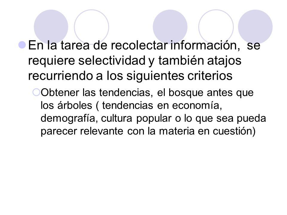 En la tarea de recolectar información, se requiere selectividad y también atajos recurriendo a los siguientes criterios Obtener las tendencias, el bos