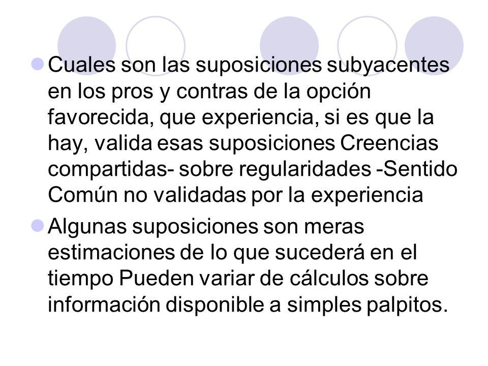 Cuales son las suposiciones subyacentes en los pros y contras de la opción favorecida, que experiencia, si es que la hay, valida esas suposiciones Cre