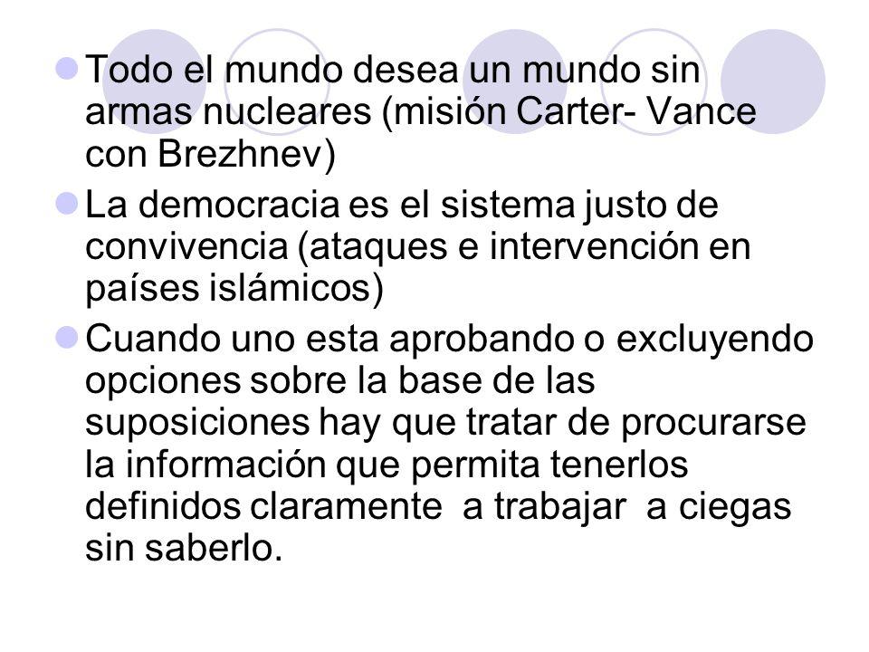 Todo el mundo desea un mundo sin armas nucleares (misión Carter- Vance con Brezhnev) La democracia es el sistema justo de convivencia (ataques e inter