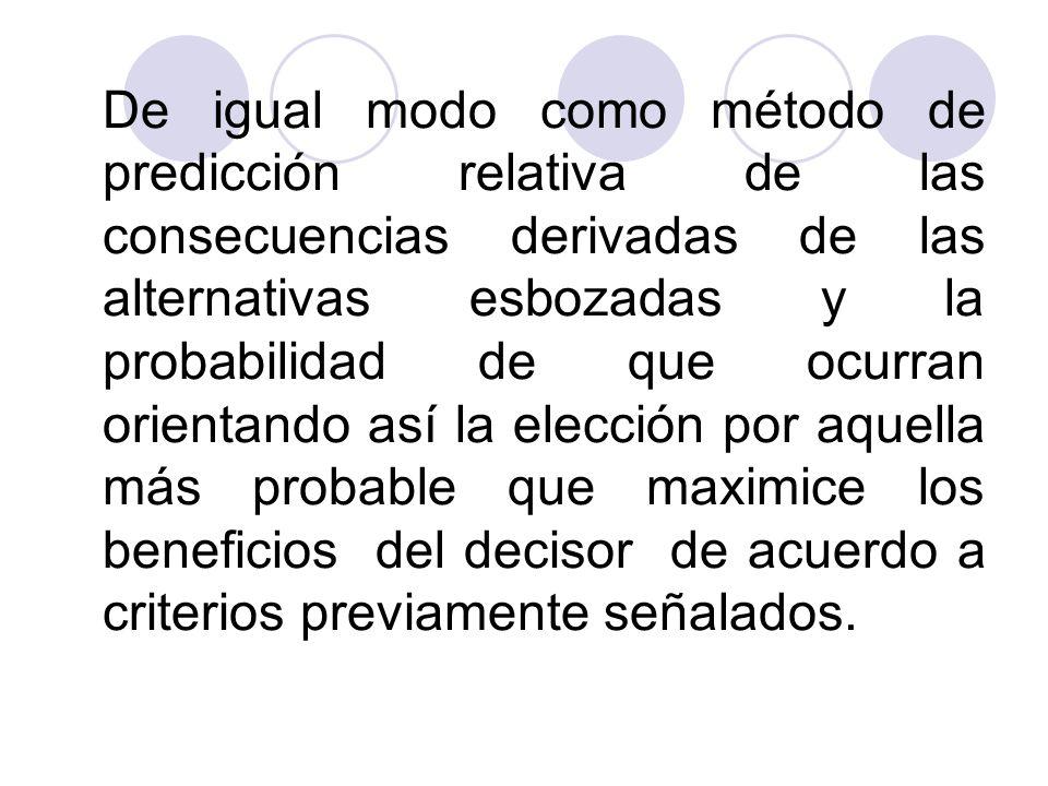 De igual modo como método de predicción relativa de las consecuencias derivadas de las alternativas esbozadas y la probabilidad de que ocurran orienta