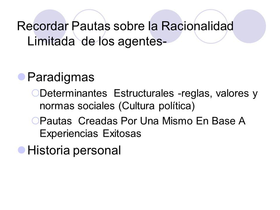 Recordar Pautas sobre la Racionalidad Limitada de los agentes- Paradigmas Determinantes Estructurales -reglas, valores y normas sociales (Cultura polí