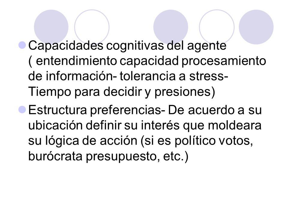 Capacidades cognitivas del agente ( entendimiento capacidad procesamiento de información- tolerancia a stress- Tiempo para decidir y presiones) Estruc