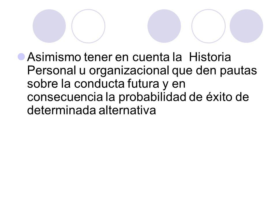 Asimismo tener en cuenta la Historia Personal u organizacional que den pautas sobre la conducta futura y en consecuencia la probabilidad de éxito de d