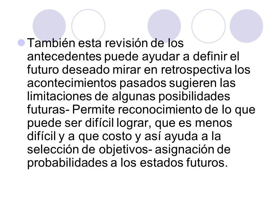 También esta revisión de los antecedentes puede ayudar a definir el futuro deseado mirar en retrospectiva los acontecimientos pasados sugieren las lim