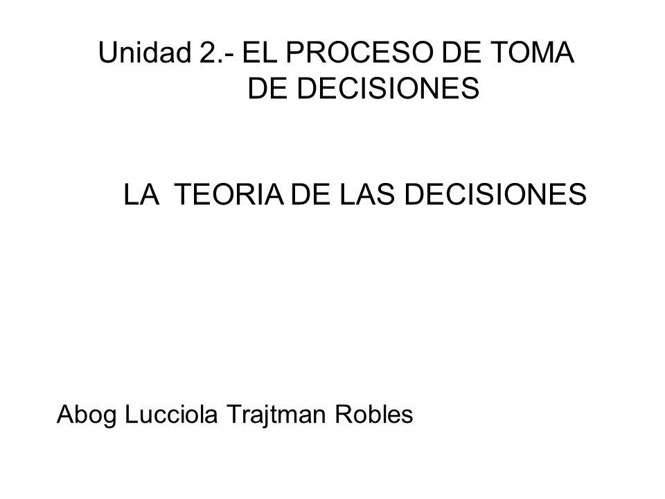 Unidad 2.- EL PROCESO DE TOMA DE DECISIONES LA TEORIA DE LAS DECISIONES Abog Lucciola Trajtman Robles