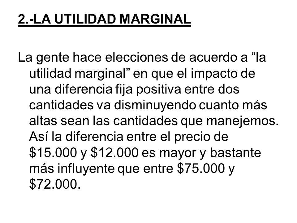 2.-LA UTILIDAD MARGINAL La gente hace elecciones de acuerdo a la utilidad marginal en que el impacto de una diferencia fija positiva entre dos cantida
