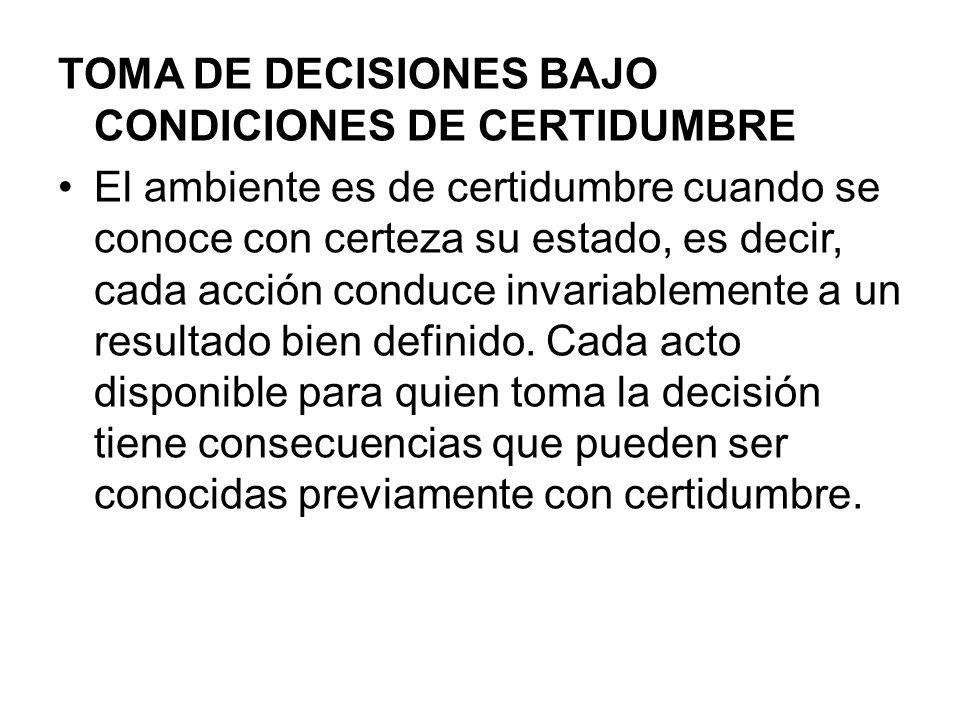 TOMA DE DECISIONES BAJO CONDICIONES DE CERTIDUMBRE El ambiente es de certidumbre cuando se conoce con certeza su estado, es decir, cada acción conduce