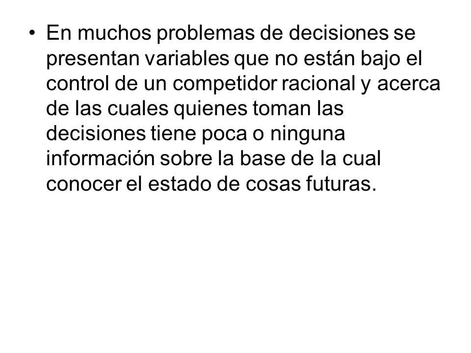En muchos problemas de decisiones se presentan variables que no están bajo el control de un competidor racional y acerca de las cuales quienes toman l