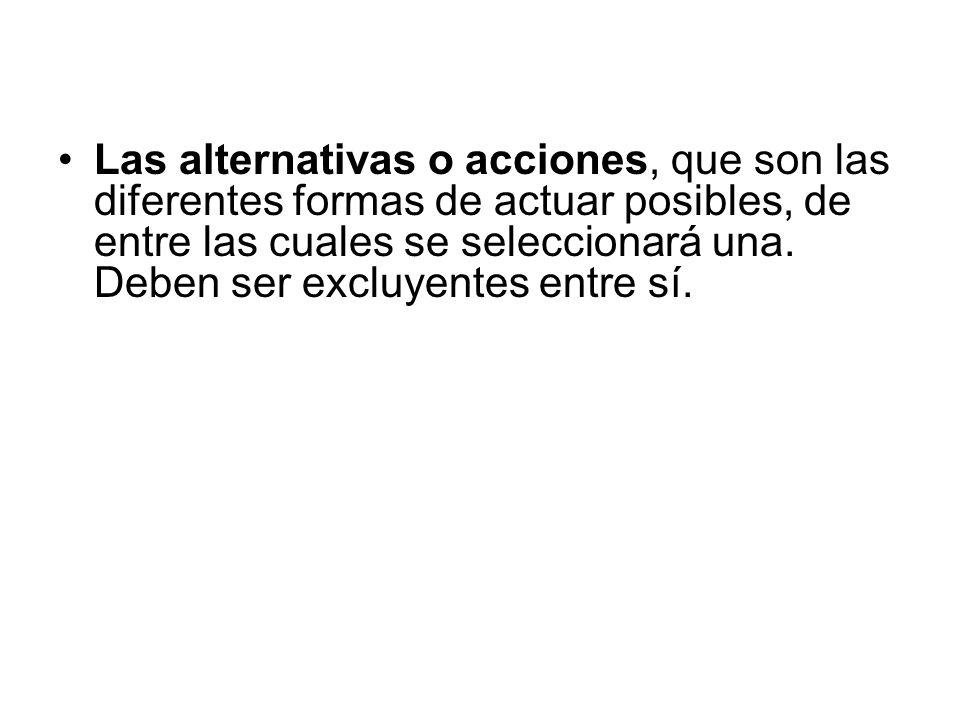 Las alternativas o acciones, que son las diferentes formas de actuar posibles, de entre las cuales se seleccionará una. Deben ser excluyentes entre sí