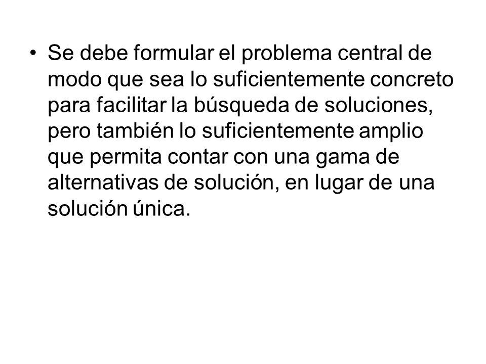 Se debe formular el problema central de modo que sea lo suficientemente concreto para facilitar la búsqueda de soluciones, pero también lo suficientem