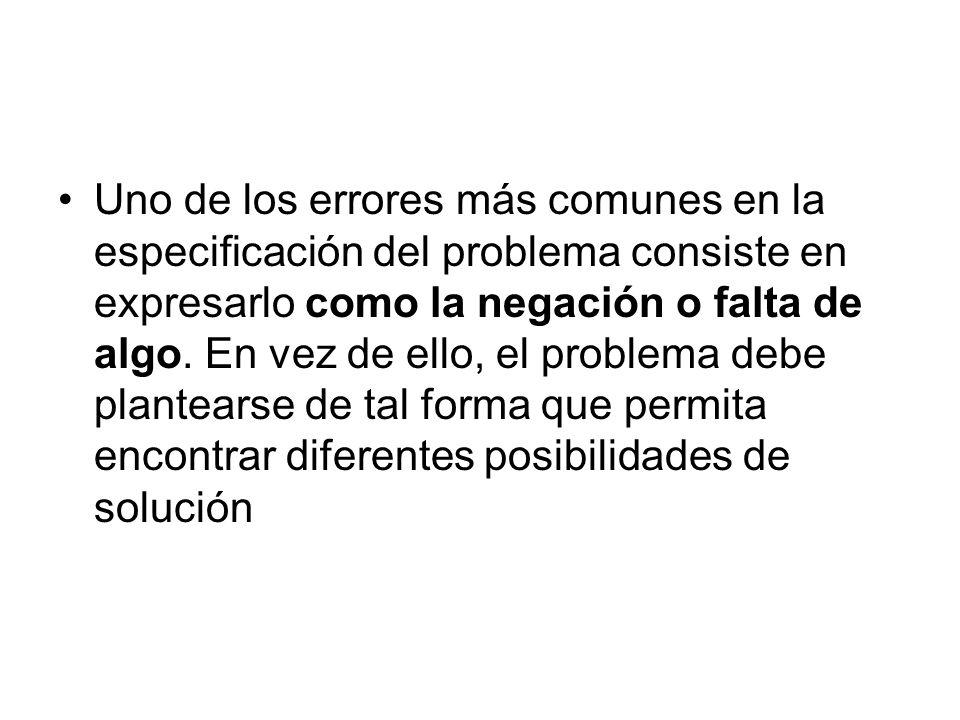 Uno de los errores más comunes en la especificación del problema consiste en expresarlo como la negación o falta de algo. En vez de ello, el problema