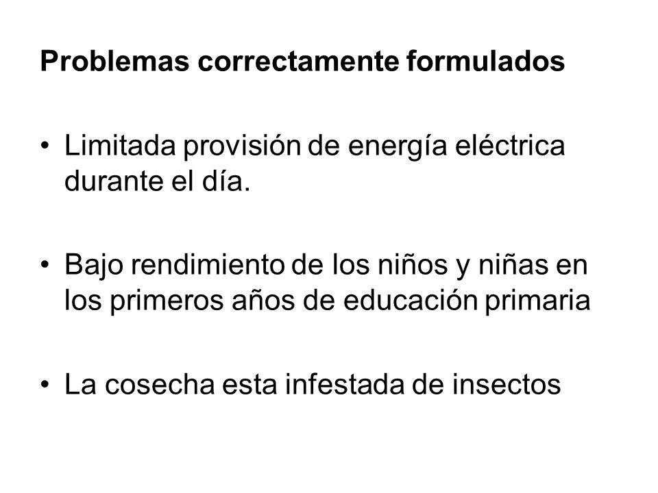 Problemas correctamente formulados Limitada provisión de energía eléctrica durante el día. Bajo rendimiento de los niños y niñas en los primeros años