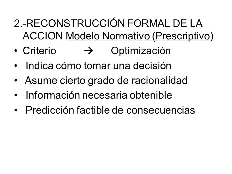 2.-RECONSTRUCCIÓN FORMAL DE LA ACCION Modelo Normativo (Prescriptivo) Criterio Optimización Indica cómo tomar una decisión Asume cierto grado de racio