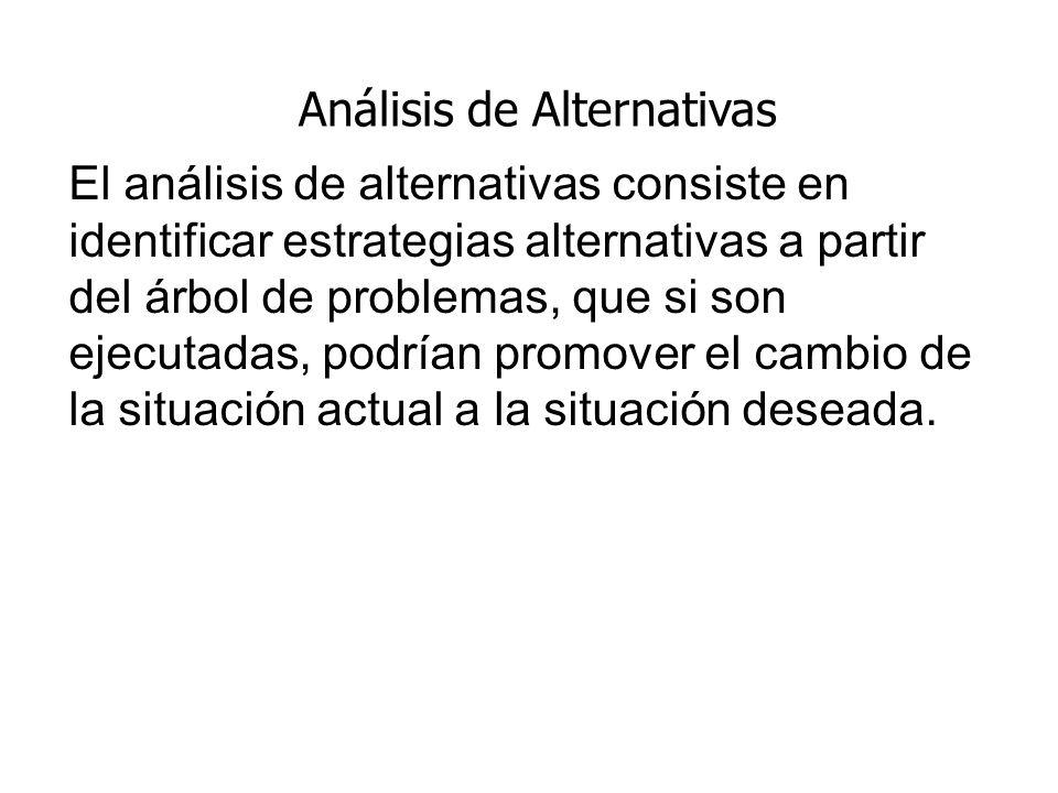 Análisis de Alternativas El análisis de alternativas consiste en identificar estrategias alternativas a partir del árbol de problemas, que si son ejec