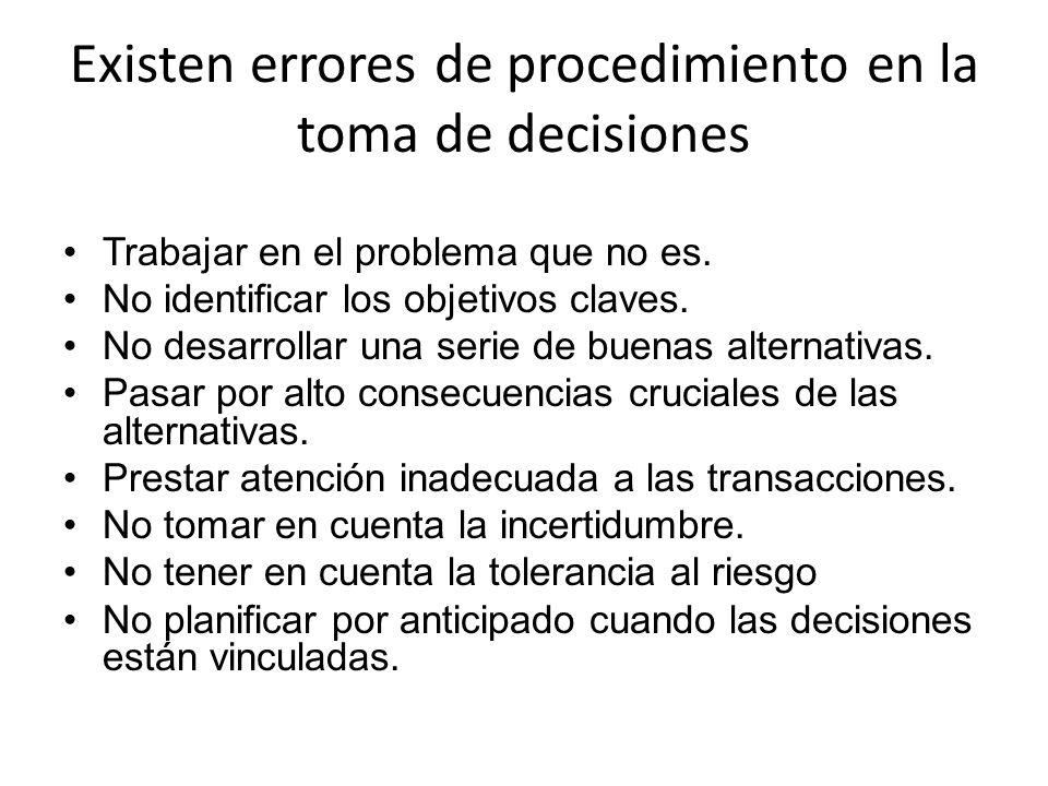 Existen errores de procedimiento en la toma de decisiones Trabajar en el problema que no es. No identificar los objetivos claves. No desarrollar una s