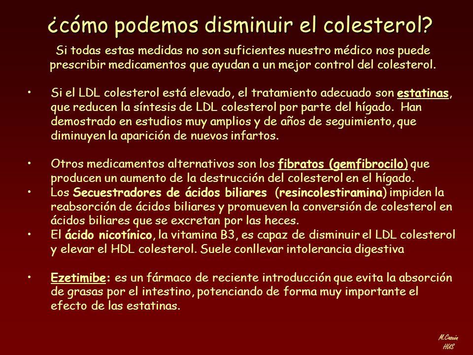 M.Cascón HUS ¿cómo podemos disminuir el colesterol? Si todas estas medidas no son suficientes nuestro médico nos puede prescribir medicamentos que ayu