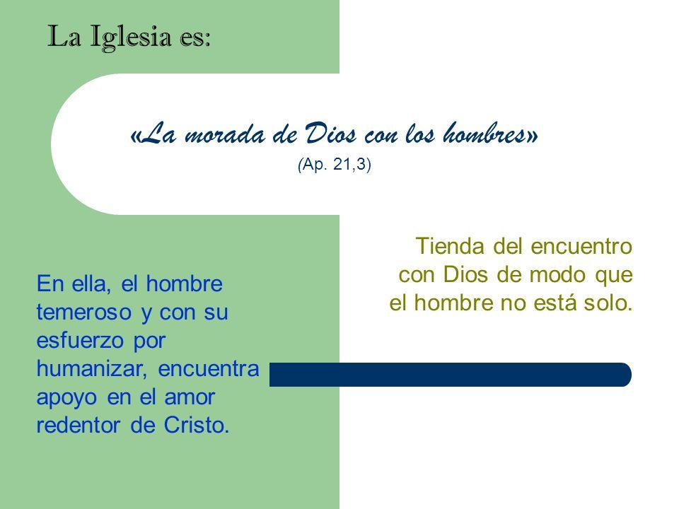 «La morada de Dios con los hombres» (Ap. 21,3) La Iglesia es: Tienda del encuentro con Dios de modo que el hombre no está solo. En ella, el hombre tem