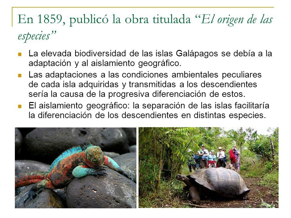 En 1859, publicó la obra titulada El origen de las especies La elevada biodiversidad de las islas Galápagos se debía a la adaptación y al aislamiento