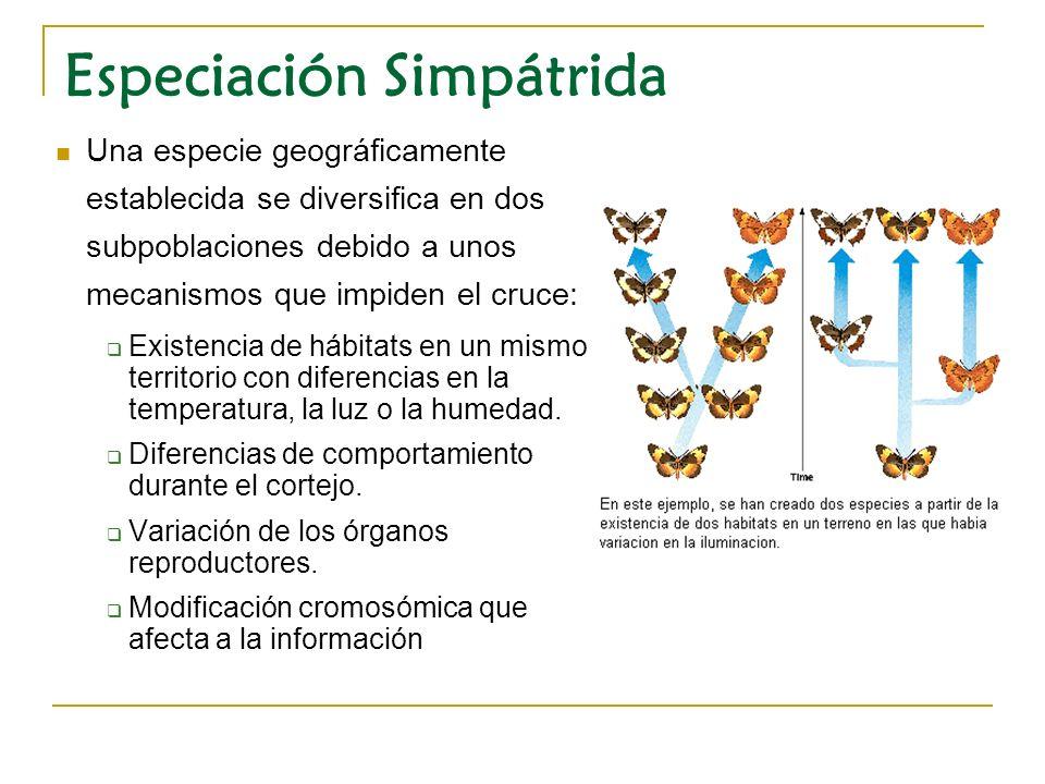 Una especie geográficamente establecida se diversifica en dos subpoblaciones debido a unos mecanismos que impiden el cruce: Existencia de hábitats en