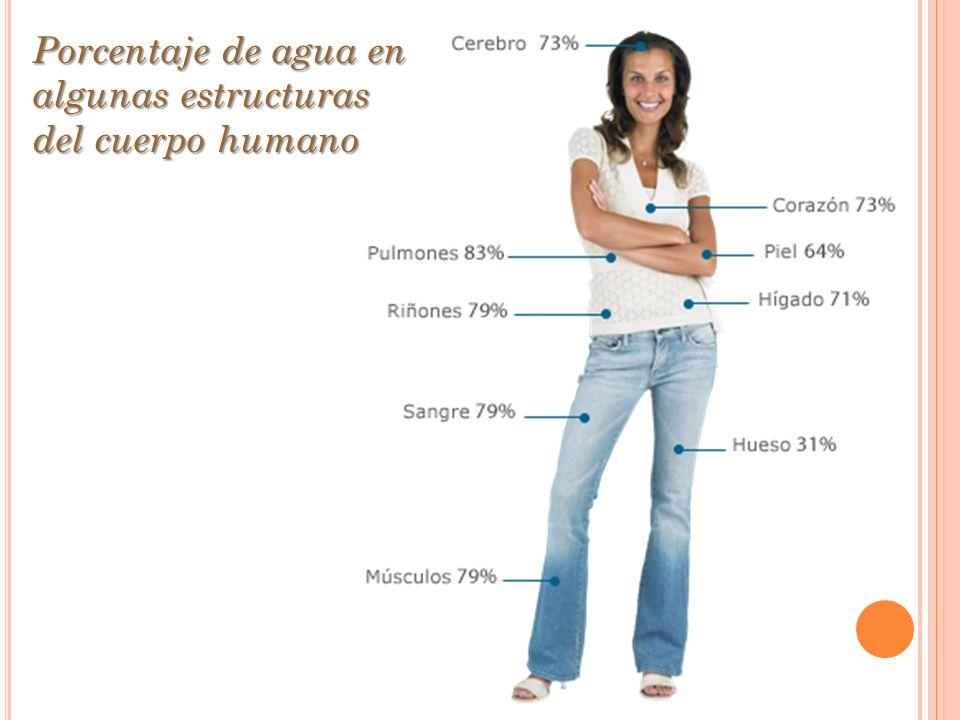 Porcentaje de agua en algunas estructuras del cuerpo humano