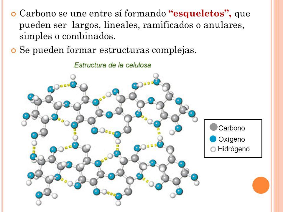 Carbono se une entre sí formando esqueletos, que pueden ser largos, lineales, ramificados o anulares, simples o combinados. Se pueden formar estructur