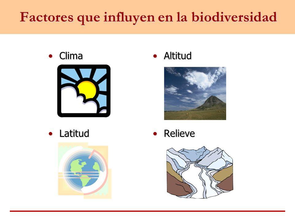 Factores que influyen en la biodiversidad ClimaClima LatitudLatitud AltitudAltitud RelieveRelieve