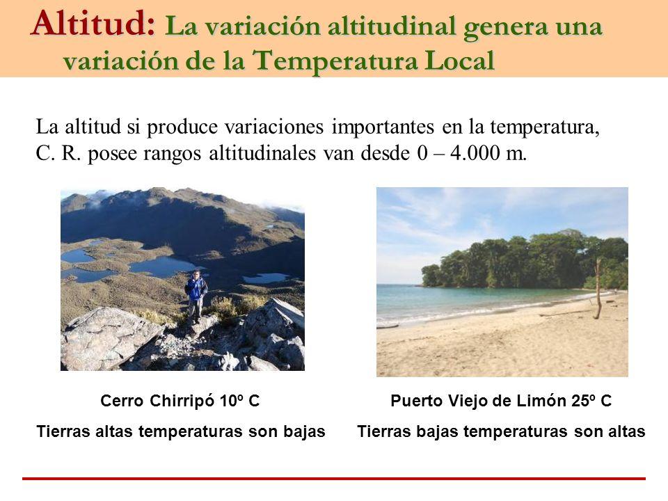 Altitud: La variación altitudinal genera una variación de la Temperatura Local La altitud si produce variaciones importantes en la temperatura, C. R.