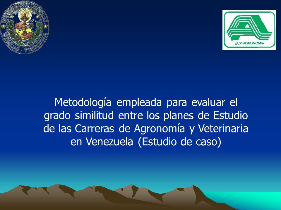 Metodología empleada para evaluar el grado similitud entre los planes de Estudio de las Carreras de Agronomía y Veterinaria en Venezuela (Estudio de caso)