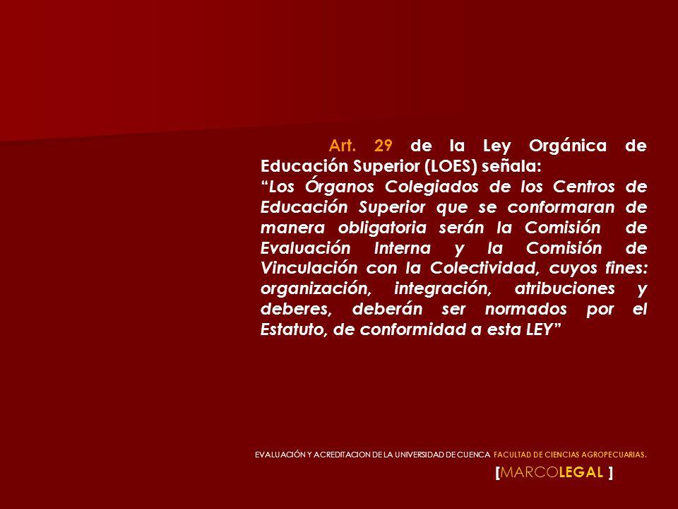 [ MARCO LEGAL ] Art. 29 de la Ley Orgánica de Educación Superior (LOES) señala: Los Órganos Colegiados de los Centros de Educación Superior que se con