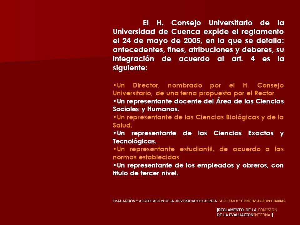 [ REGLAMENTO DE LA COMISION DE LA EVALUACIONINTERNA ] El H. Consejo Universitario de la Universidad de Cuenca expide el reglamento el 24 de mayo de 20