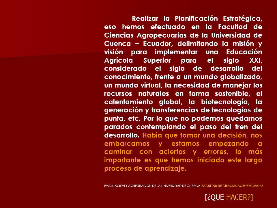 [¿QUE HACER?] Realizar la Planificación Estratégica, eso hemos efectuado en la Facultad de Ciencias Agropecuarias de la Universidad de Cuenca – Ecuado