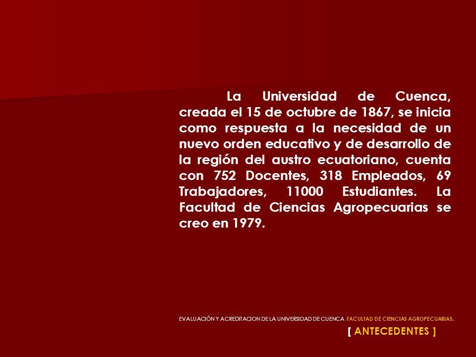EVALUACIÓN Y ACREDITACION DE LA UNIVERSIDAD DE CUENCA, FACULTAD DE CIENCIAS AGROPECUARIAS. [ ANTECEDENTES ] La Universidad de Cuenca, creada el 15 de