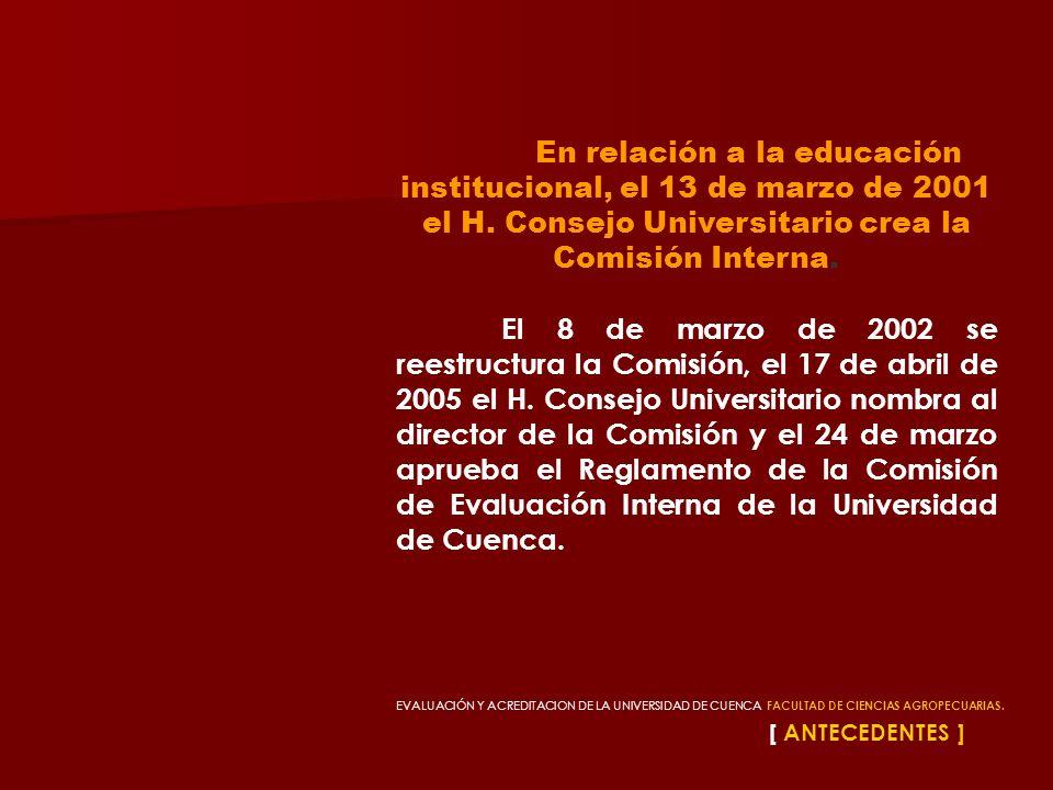 [ ANTECEDENTES ] En relación a la educación institucional, el 13 de marzo de 2001 el H. Consejo Universitario crea la Comisión Interna. El 8 de marzo