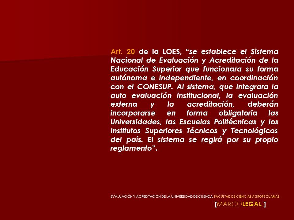 [ MARCO LEGAL ] Art. 20 de la LOES, se establece el Sistema Nacional de Evaluación y Acreditación de la Educación Superior que funcionara su forma aut