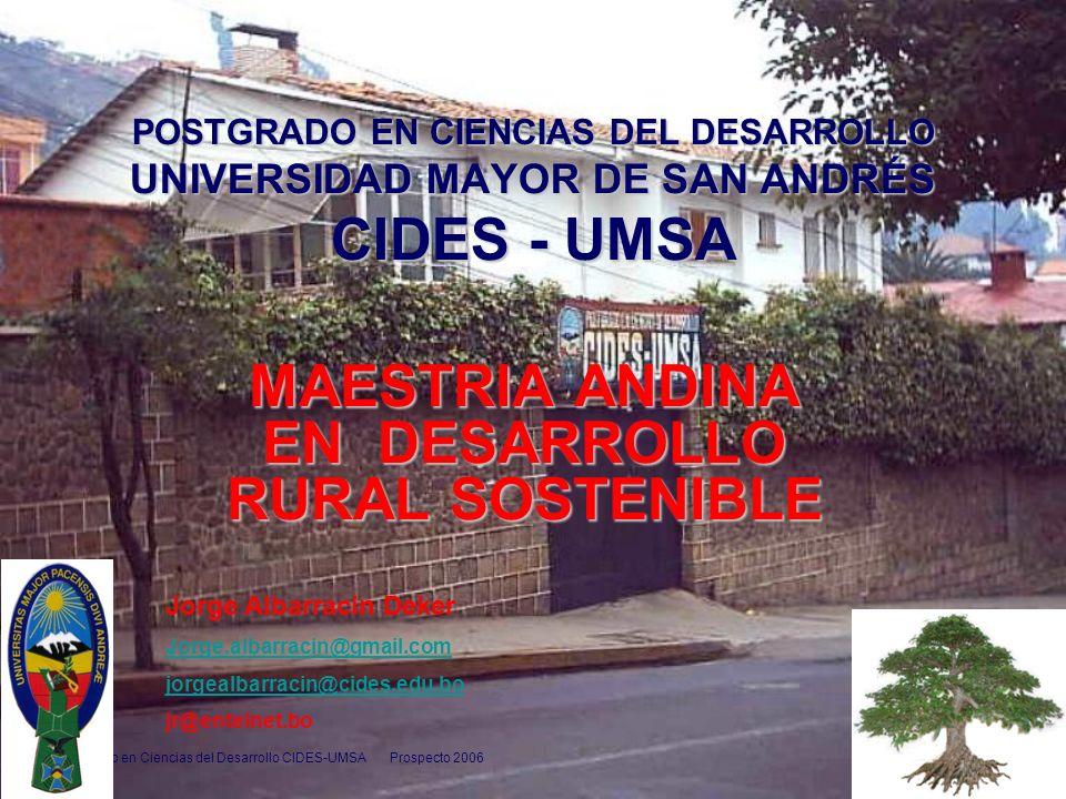 Postgrado en Ciencias del Desarrollo CIDES-UMSA Prospecto 2006 1 POSTGRADO EN CIENCIAS DEL DESARROLLO UNIVERSIDAD MAYOR DE SAN ANDRÉS CIDES - UMSA MAE