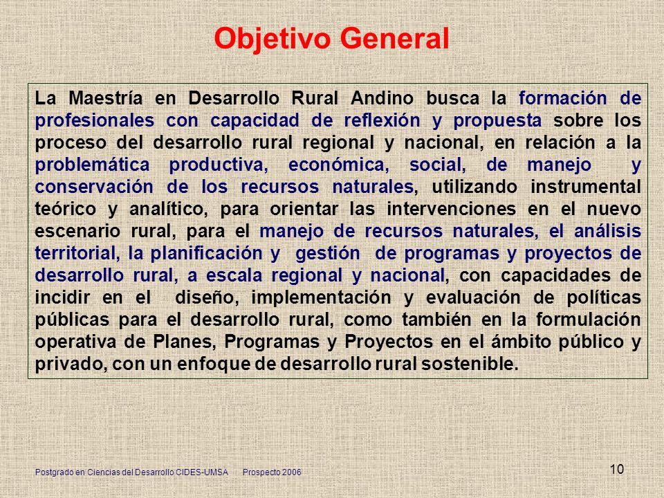 Postgrado en Ciencias del Desarrollo CIDES-UMSA Prospecto 2006 10 Objetivo General La Maestría en Desarrollo Rural Andino busca la formación de profes