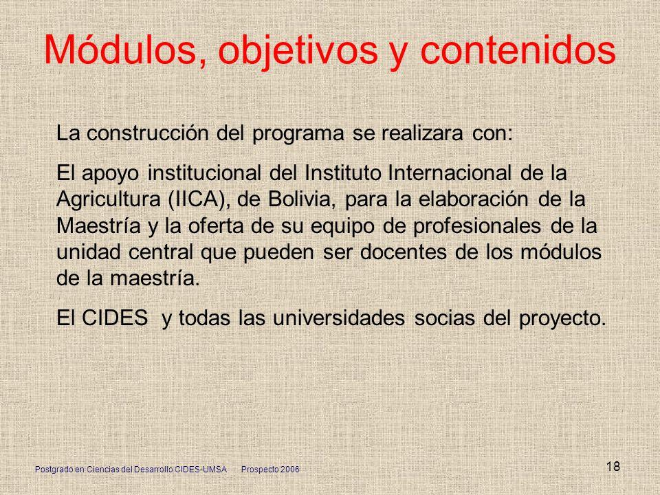 Postgrado en Ciencias del Desarrollo CIDES-UMSA Prospecto 2006 18 Módulos, objetivos y contenidos La construcción del programa se realizara con: El ap