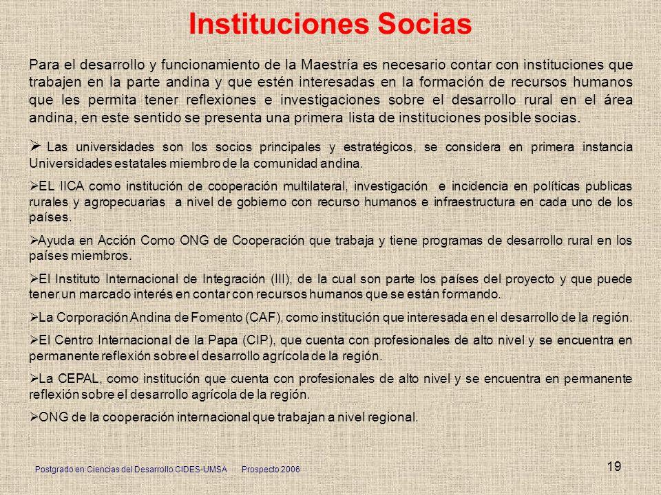 Postgrado en Ciencias del Desarrollo CIDES-UMSA Prospecto 2006 19 Instituciones Socias Para el desarrollo y funcionamiento de la Maestría es necesario
