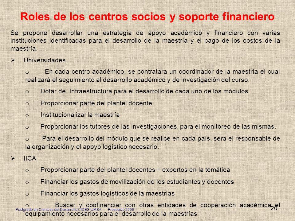 Postgrado en Ciencias del Desarrollo CIDES-UMSA Prospecto 2006 20 Roles de los centros socios y soporte financiero Se propone desarrollar una estrateg
