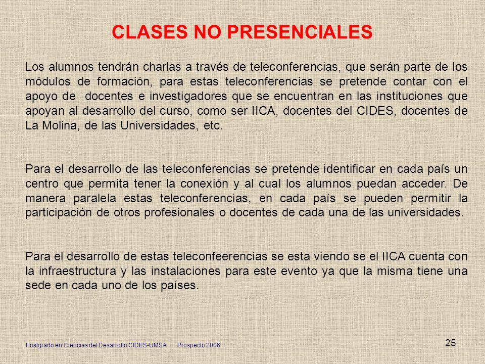 Postgrado en Ciencias del Desarrollo CIDES-UMSA Prospecto 2006 25 CLASES NO PRESENCIALES Los alumnos tendrán charlas a través de teleconferencias, que
