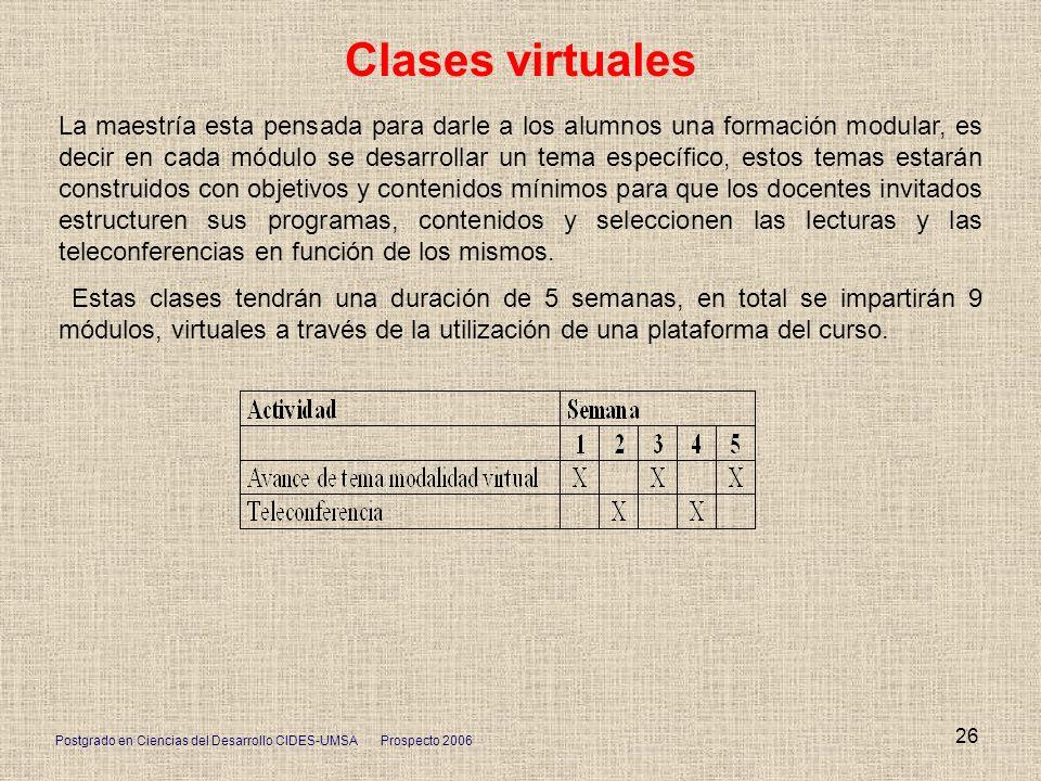 Postgrado en Ciencias del Desarrollo CIDES-UMSA Prospecto 2006 26 Clases virtuales La maestría esta pensada para darle a los alumnos una formación mod