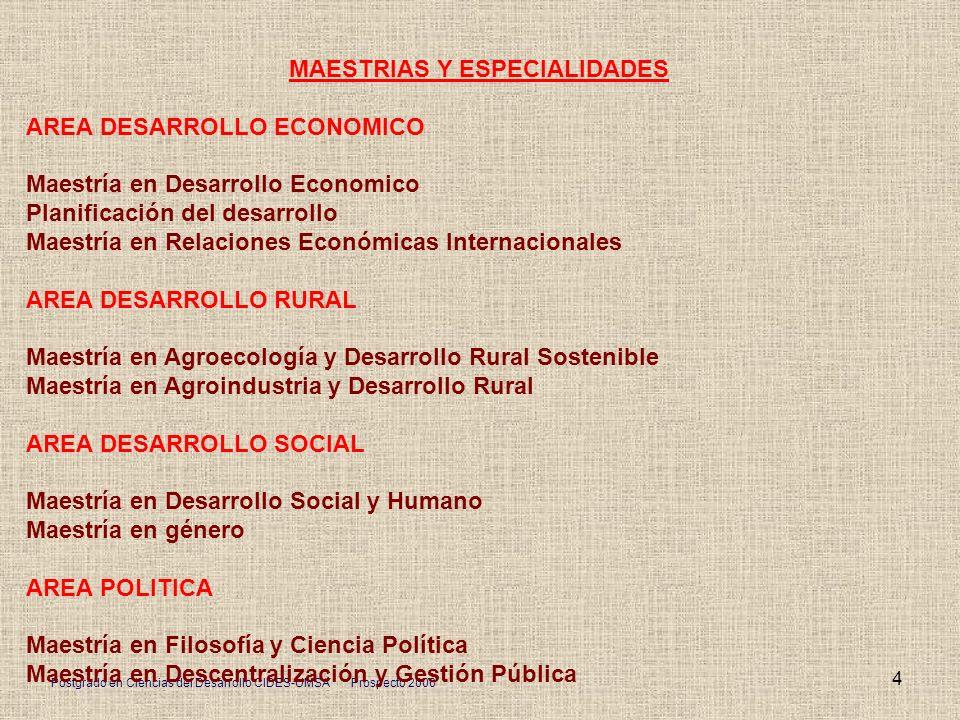 Postgrado en Ciencias del Desarrollo CIDES-UMSA Prospecto 2006 4 MAESTRIAS Y ESPECIALIDADES AREA DESARROLLO ECONOMICO Maestría en Desarrollo Economico